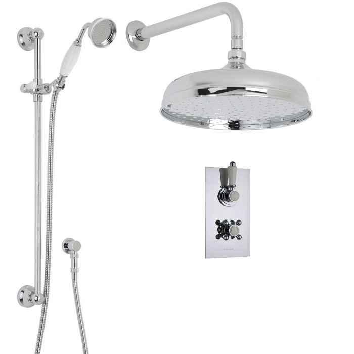 """Traditional Thermostatic 2 Outlet Shower System with 12"""" Ceiling Apron Head & Handshower"""