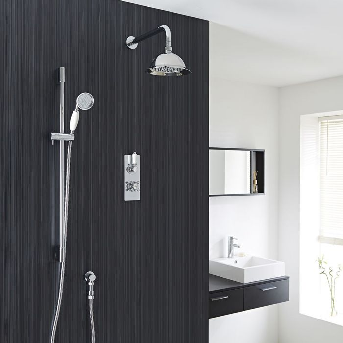 """Traditional Thermostatic 2 Outlet Shower System with 8"""" Rose & Handshower"""