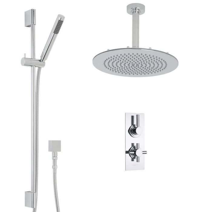 """Tec Thermostatic 2 Outlet Shower System with 12"""" Round Ceiling Head & Handshower"""