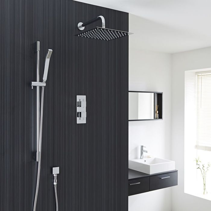 """Square Thermostatic 2 Outlet Shower System with 12"""" Head with Wall Arm & Handshower"""