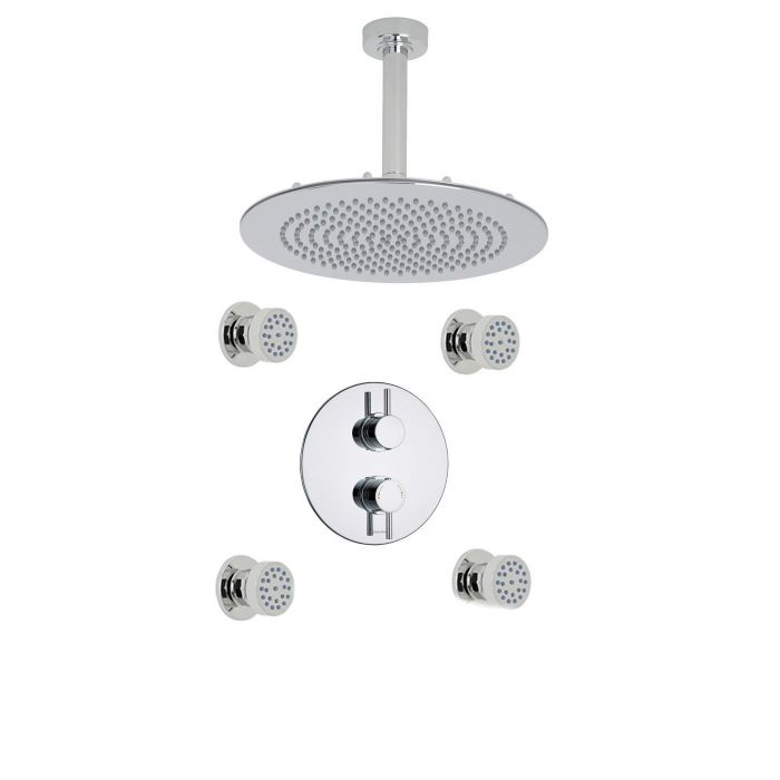 """Quest Thermostatic 2 Outlet Shower System with 4 Round Jets & 12"""" Ceiling Mounted Head"""