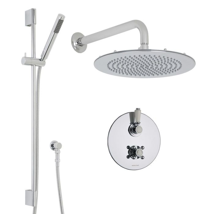 "Traditional Thermostatic 2 Outlet Shower System with 12"" Round Head & Arm plus Handshower"
