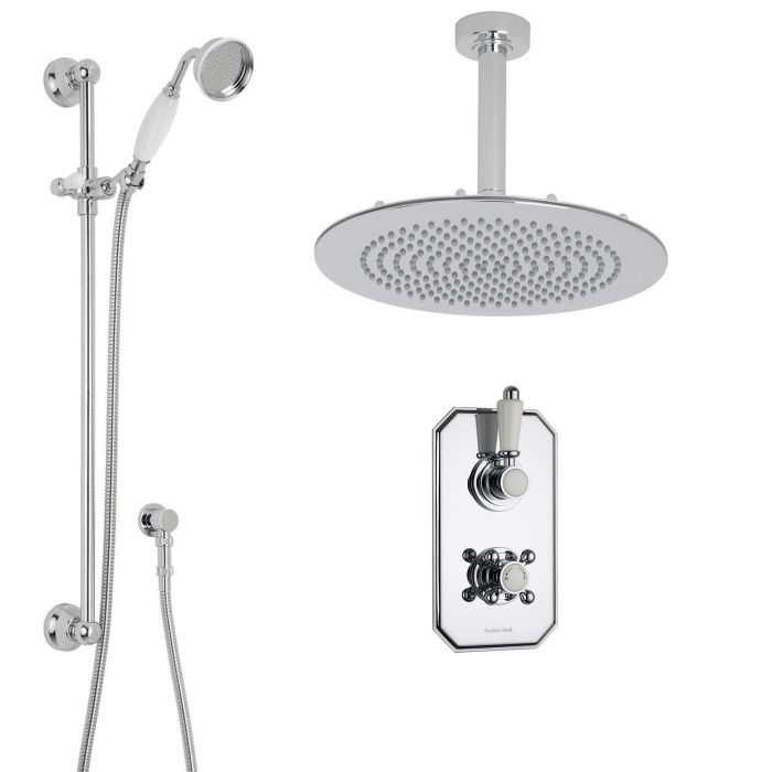 "Traditional Thermostatic 2 Outlet Shower System with 12"" Round Head & Ceiling Arm & Handset"