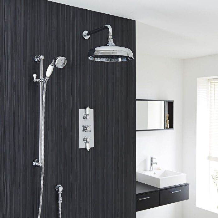 "Valquest Traditional Thermostatic 2 Outlet Shower System with 12"" Apron Head & Handshower"
