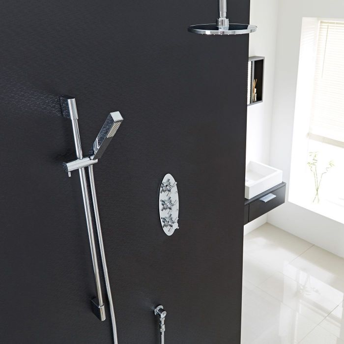 """Kristal Thermostatic Shower System with 8"""" Head with Ceiling Arm & Handshower"""