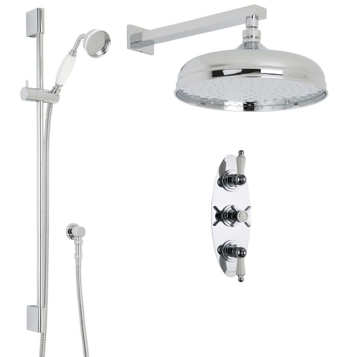 """Beaumont Thermostatic Shower System with 12"""" Apron with Wall Arm & Handset"""