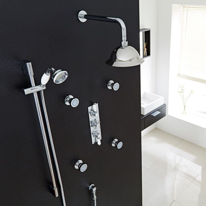 """Traditional Thermostatic Shower System with 8"""" Rose, Handshower & 4 Round Jet Sprays"""