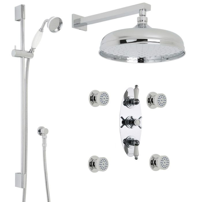 """Beaumont Thermostatic Shower System with 12"""" Apron with Wall Arm , Handset & 4 Round Jet Sprays"""