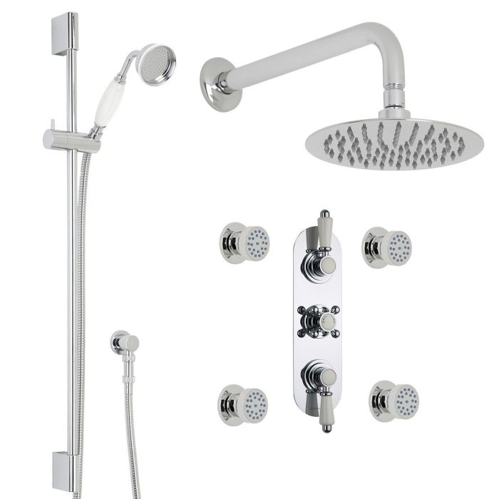 "Traditional Thermostatic Shower System with 8"" Round Head & Arm, Brass Handset & 4 Round Jet Sprays"