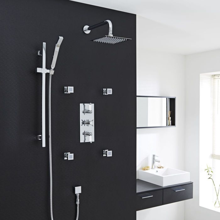 """Beaumont Thermostatic Shower System with 8"""" Square Head & Wall Arm, Handset & 4 Square Jet Sprays"""