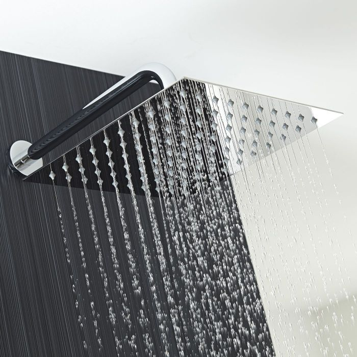"12"" Square Shower Head with Wall Arm"