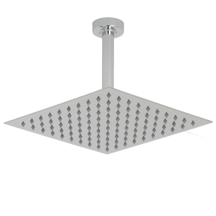 "Valquest 12"" Square Thin Shower Head with Round Ceiling Arm"