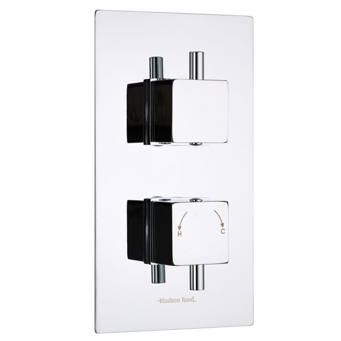 Kubix Concealed 2 Outlet Twin with Diverter Thermostatic Shower Valve