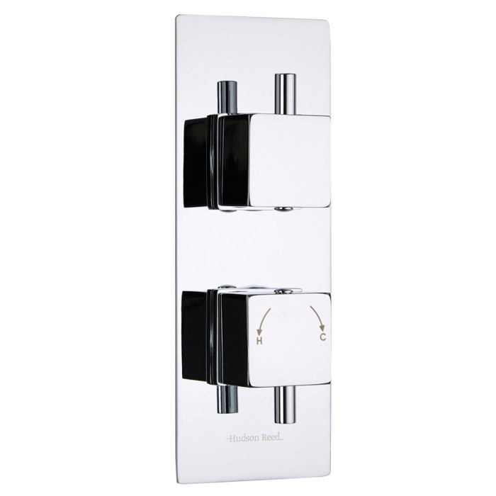 Kubix Concealed 2 Outlet Twin with Diverter Thermostatic Shower Valve (Slim Plate)