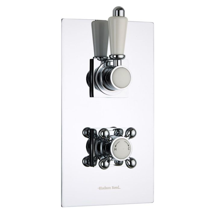 Traditional Concealed 2 Outlet Twin with Diverter Thermostatic Shower Valve (Square Flange)