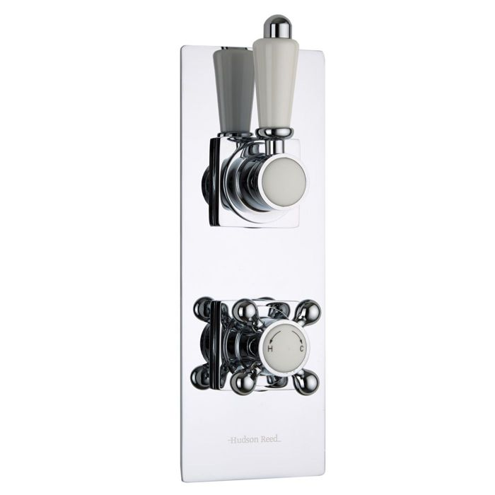 Traditional Concealed 2 Outlet Twin with Diverter Thermostatic Shower Valve (Slim Trim Plate)