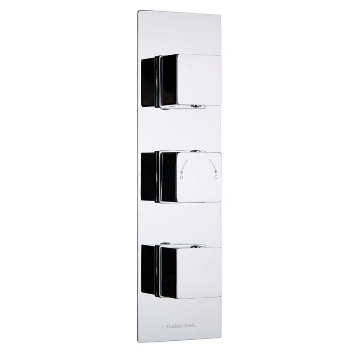 Kubix Concealed 3 Outlet Triple with Diverter Thermostatic Shower Valve (Slim Plate)