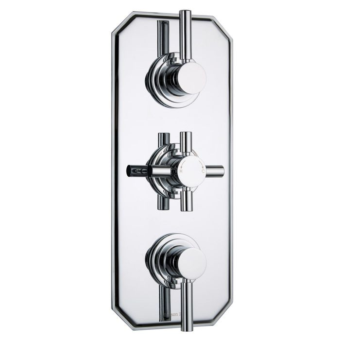 Tec Concealed 2 Outlet Triple Thermostatic Shower Valve (Traditional Plate)