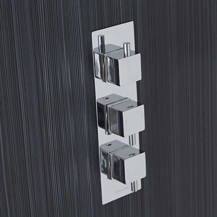 Square Concealed 3 Outlet Triple with Diverter Thermostatic Shower Valve (Slim Plate)