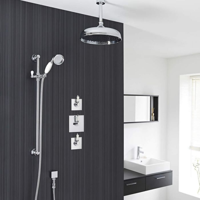 """Traditional 2-Outlet Shower System with 12"""" Apron Head, Hand Shower & Shut-Off Valves"""