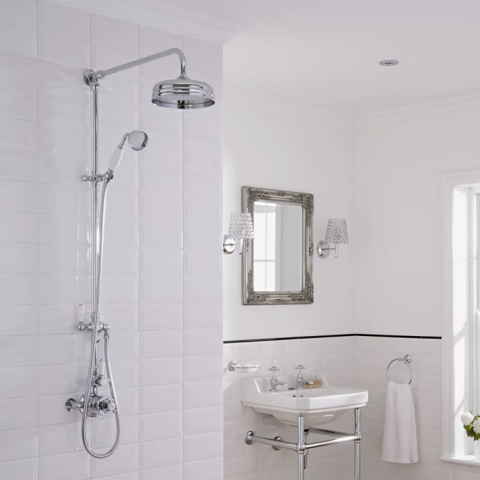 Traditional Grand Rigid Riser Kit with Twin Thermostatic Shower ...