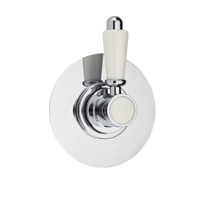 3-Way Diverter Shower Valve with Round Plate and Traditional Lever Handle