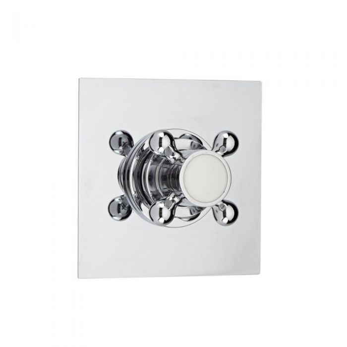 3-Way Diverter Shower Valve with Square Plate and Traditional Crosshead Handle