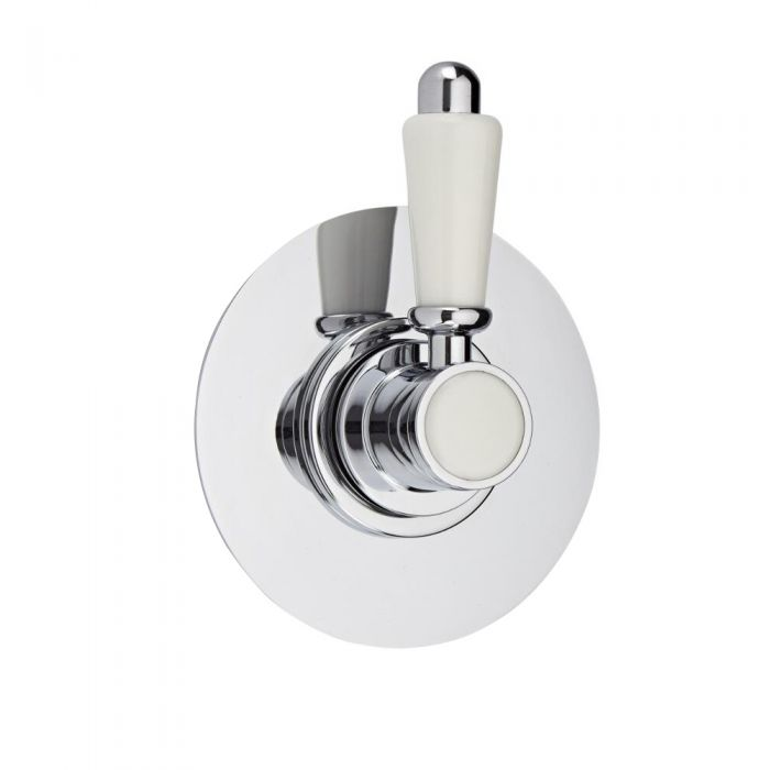 Shut-Off Shower Valve with Round Plate and Traditional Lever Handle