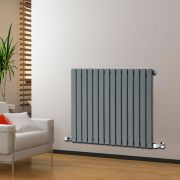 "Delta - Anthracite Horizontal Single Slim-Panel Designer Radiator - 25"" x 38.5"""