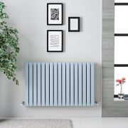 "Sloane - Baby Blue Double Flat Panel Horizontal Designer Radiator - 25"" x 39.5"""