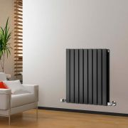 "Delta - Black Horizontal Double Slim-Panel Designer Radiator - 25"" x 24.75"""
