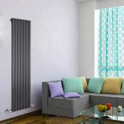 "Delta - Black Vertical Single Slim-Panel Designer Radiator - 63"" x 19.25"""