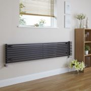 "Fin - Black Horizontal Single-Panel Designer Radiator - 13.5"" x 63"""
