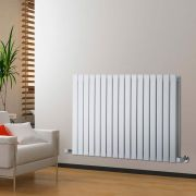 "Delta - White Horizontal Double Slim-Panel Designer Radiator - 25"" x 46.75"""