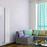 "Delta - White Vertical Double Slim-Panel Designer Radiator - 63"" x 11"""