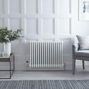 "Regent - White Horizontal 4-Column Traditional Cast-Iron Style Radiator - 23.5"" x 30"""