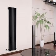"Savy - Black Vertical Single-Panel Designer Radiator - 70"" x 14"""