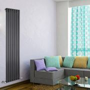 "Delta - Black Vertical Single Slim-Panel Designer Radiator - 70"" x 19.25"""