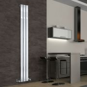 "Delta - Chrome Vertical Single Slim-Panel Designer Radiator - 70.75"" x 8.75"""