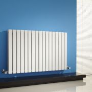 "Sloane - White Horizontal Double Flat-Panel Designer Radiator - 25"" x 39.25"""