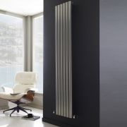 "Savy - Silver Vertical Single-Panel Designer Radiator - 63"" x 14"""