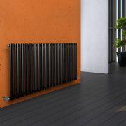 "Revive - Black Horizontal Single-Panel Designer Radiator - 25"" x 46.5"""
