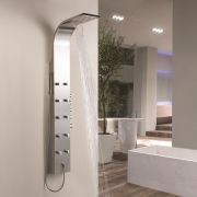 Thermostatic Shower Panel with 10 Mini Body Jets and Waterfall Head - Stainless Steel
