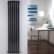 "Revive - Black Vertical Single-Panel Designer Radiator - 63"" x 14"""