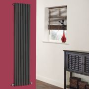 "Fin - Anthracite Vertical Single-Panel Designer Radiator - 63"" x 13.5"""