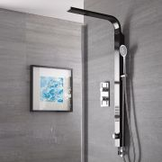 Harding Black Rigid Shower Kit Bottom Inlet With Twin Shower Valve