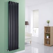 "Edifice - Black Vertical Double-Panel Designer Radiator - 70"" x 16.5"""