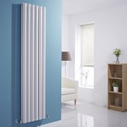 "Edifice - White Vertical Double-Panel Designer Radiator - 70"" x 16.5"""