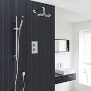 Thermostatic Shower Valve With Divertor 2 Outlets, Cloudburst Head and Slide Rail Kit - Chrome Finish