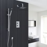 Thermostatic Shower Valve With Divertor 2 Outlets, Over Head And Slide Rail Kit - Square Handles
